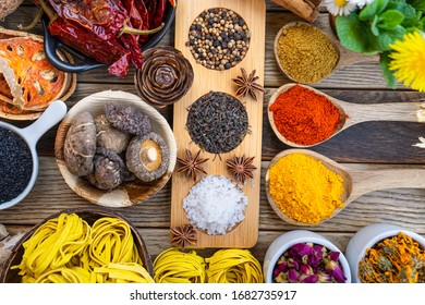 Colourful various herbs and spices for cooking on  background