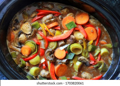 Colourful Vegetables In A Beef Casserole Cooking In A Slow Cooker.