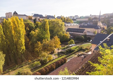A colourful view of parks and architecture in Luxembourg during the autumn.
