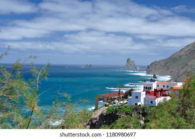 Colourful view of Taganana on the background of Benijo, Tenerife, Atlantic Ocean