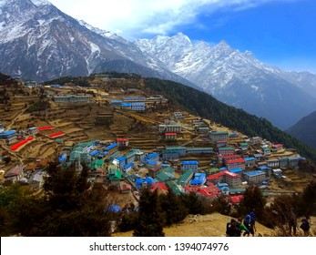 Colourful village of Namche Bazaar nestled between the Himalayan Mountains near Mount Everest Base Camp, Khumbu Valley, Sagarmatha Region, Nepal