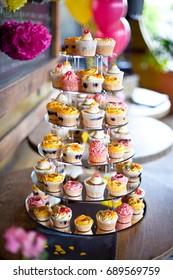 Colourful wedding cake cupcake tower