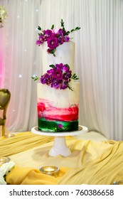 Colourful wedding cake on display