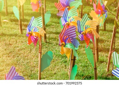 Colourful of windmill toy in the garden.Thailand