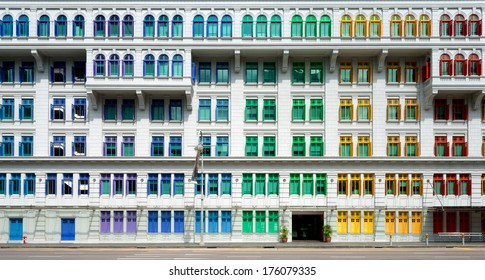 Colourful window shutters  of the MICA building near Clark Quay, Singapore