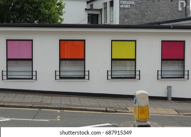 Colourful windows - part of the Plymouth College of Art in Devon