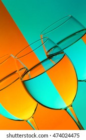 colourful wine glasses orange and blue close up
