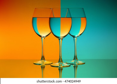 colourful wine glasses orange and blue