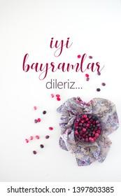 colourfull candies for ramadan feast with turkish ramadan feast message