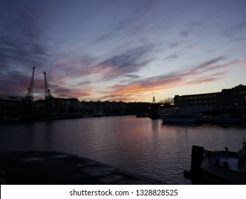 A colourfull dramatic winter sunset at Bristol Harbourside, Bristol, England