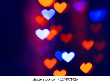 Colourfull heart bokeh background. For Christmas and Valentine's day greeting cards, invitations, flyers, perfect for blog posts, banners and social networks