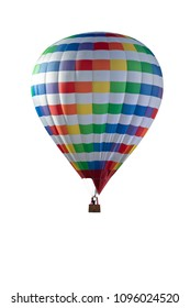 Colourfull hot air balloon isolated on white background. Colourfull Balloon festival. + clipping path. vertical
