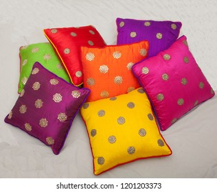 Colourfull Pillows or cushions isolated on white background