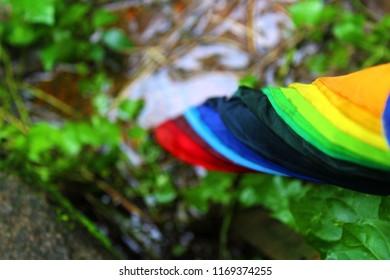 colourfull rinbow umbrella foliding