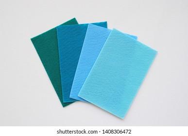 colourfull set of natural felt texture. blue. modern colour background. handmade