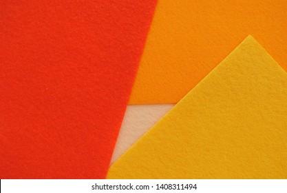 colourfull set of natural felt texture. yellow, orange, red. modern colour background. handmade