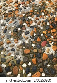 Colourfull small stone mosaic floor background for decorative ornament
