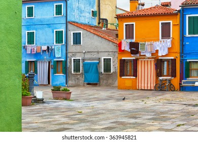 Colourfully painted house facade on Burano island, province of Venice, Italy