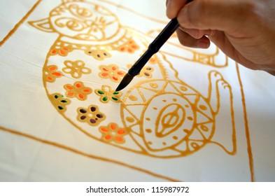 Colouring Batik taken at batik factory in Terengganu Malaysia