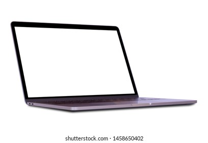 Colseup modern laptop computer in right side view with blank white screen mockup template isolated on white background. Blank copy space. Clipping path. Full depth of field.