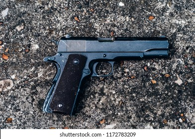 colt 45,1911 semi-automatic military pistol.classic pistol. close-up