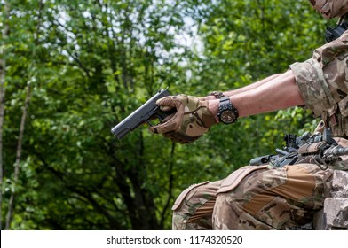 colt 45,1911 semi-automatic military pistol.classic pistol. close-up. aiming