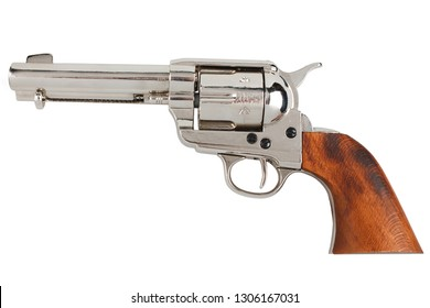"colt single action army ""peacemaker"" - wild west revolver isolated on white background"