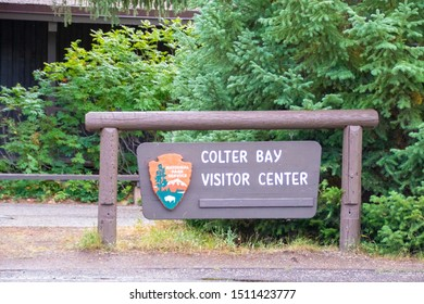 The Colter Bay Visitor Center Sign in Colter Bay Village in Grand Teton National Park Wyoming September 8th 2019