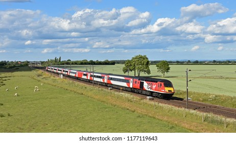 Colton York England UK June 21st 2018 Virgin Trains High Speed Train passing at Colton south of York on the east coast mainline from London