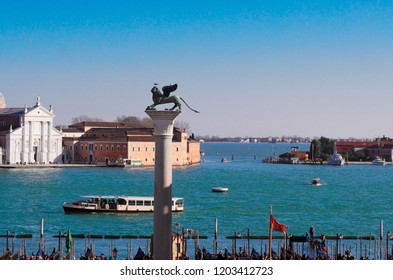 Colum with winged lion, Venice, Italy