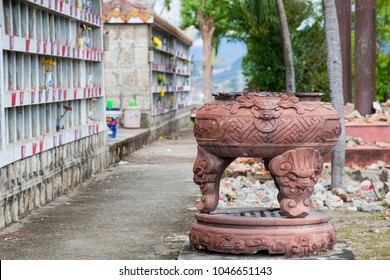Columbarium - Buddhist cemetery. Public storage of cinerary urns (urns holding a deceased's cremated remains) Vietnam, Nha Trang city, Long Son Pagoda 2018-01-10