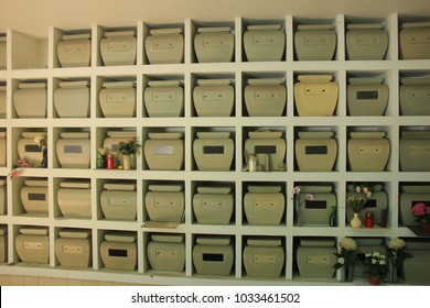 Columbarium at a cemetery, public storage of cinerary urns