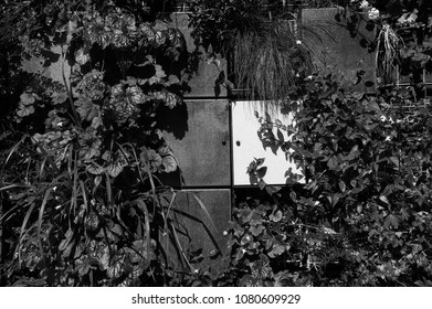 Columbarium at Pere Lachaise cemetery. (Paris, France). Black and white photo.