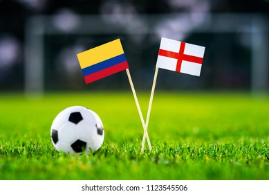 Columbia and England national flag on football stadium. Columbia - England, Round of 16, eight final, 3. July,
