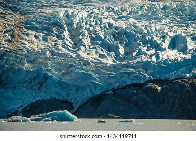 Columbia glacier close-up in Prince William Sound in Alaska