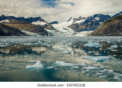 Columbia Glacier with frozen floes in Prince William sound, Alaska