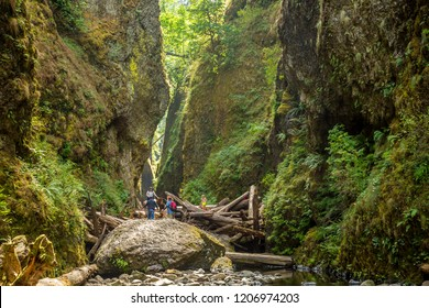 Columbia Gorge, 12/8/2012:  Hikers scrambling over a log jam at the entrance to Oneonta Gorge, in the Columbia River Gorge National Scenic Area, Oregon