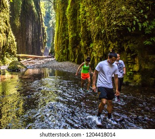 Columbia Gorge - 8/14/2012:  Day hikers in Oneonta Gorge, Columbia River Gorge National Scenic Area, Oregon