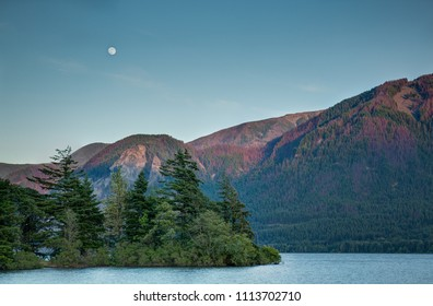 Columbia Gorge at Sunset with Full Moon
