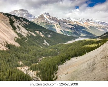 COLUMBIA ICEFIELD, ALBERTA, CANADA - JUNE 2018: Wide angle scenic view of a valley in the Columbia Icefield.