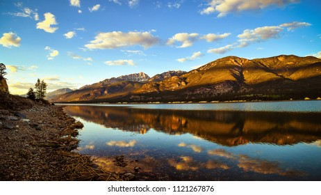Columbia Lake Reflection at Sunset, British Columbia, Canada. Canadian Rockies Landscape.