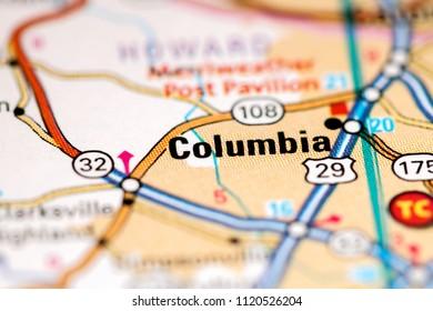 Columbia. Maryland. USA on a map