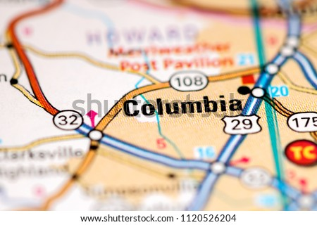 Columbia Maryland Usa On Map Stock Photo Edit Now 1120526204