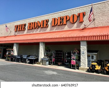 COLUMBIA, MD, USA - APRIL 30, 2017: The Home Depot storefront. Home depot is an American home improvement supplies retailing company that sells tools, construction products, and services.