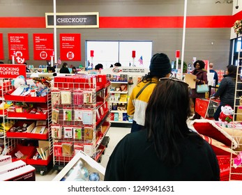 COLUMBIA, MD, USA - DECEMBER 2, 2018: Nordstrom Rack checkout line during the holiday season.