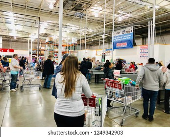 COLUMBIA, MD, USA - DECEMBER 2, 2018: Costco wholesale checkout line.