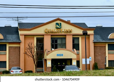 COLUMBIA, MD, USA - MARCH 15, 2018: Quality Inn hotel. Quality Inn is a budget hotel found across the United States.
