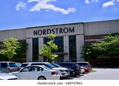 COLUMBIA, MD, USA - MAY 14, 2017: Nordstrom department store exterior. Nordstrom is an upscale department store.