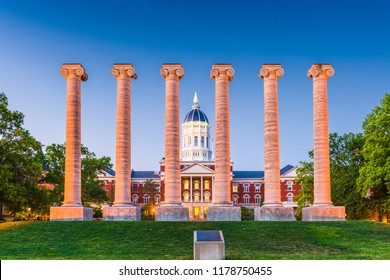 Columbia, Missouri, USA historic campus and columns.