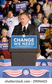 COLUMBIA, MO - OCTOBER 30, 2008: Then-Attorney General Jay Nixon (D-MO) speaks at an Obama campaign rally on the campus of the University of Missouri-Columbia on October 30, 2008.